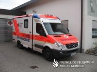 Der aktuelle Rettungswagen (RTW, Funkrufname: Rotkreuz Karlsruhe 4/83-4) des Rettungsdienstes des DRK-Kreisverbands Karlsruhe, Rettungswache Oberderdingen.